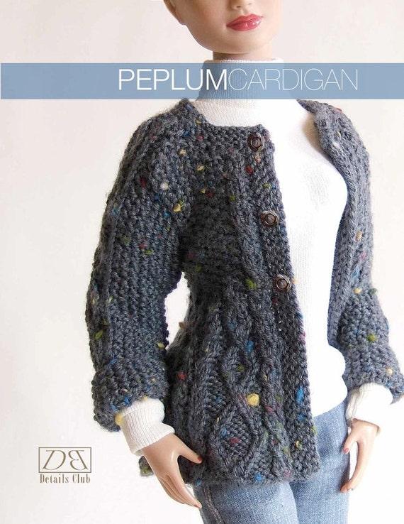 Knitting Pattern Peplum Cardigan : Knitting pattern for 16 inch fashion dolls: Peplum Cardigan