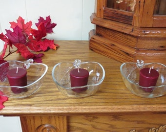 SALE ~ 25% OFF  Apple Candy Dishes Vintage KIC Indonesia Set of 3