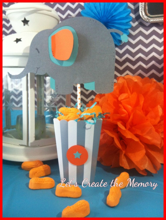 elephant centerpiece goody bag for baby shower first birthday