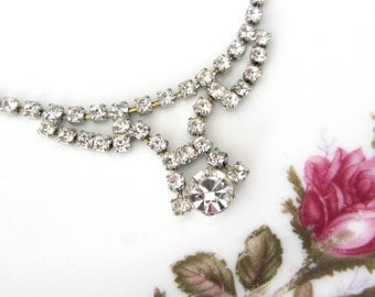 Vintage Clear Rhinestone Necklace
