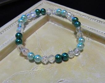 Teal & Light Blue Bead Bracelet