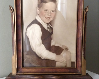 Vintage Swing Style Picture Frame with Portrait of a Little Boy. 1930's or 1940's.
