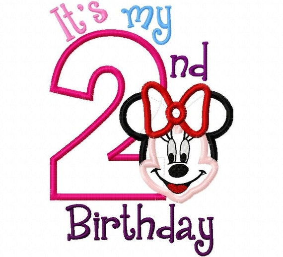 My Second Birthday Miss Mouse Full Face two 2  Applique Design Applique Machine Embroidery Design 4x4 and 5x7 minnie