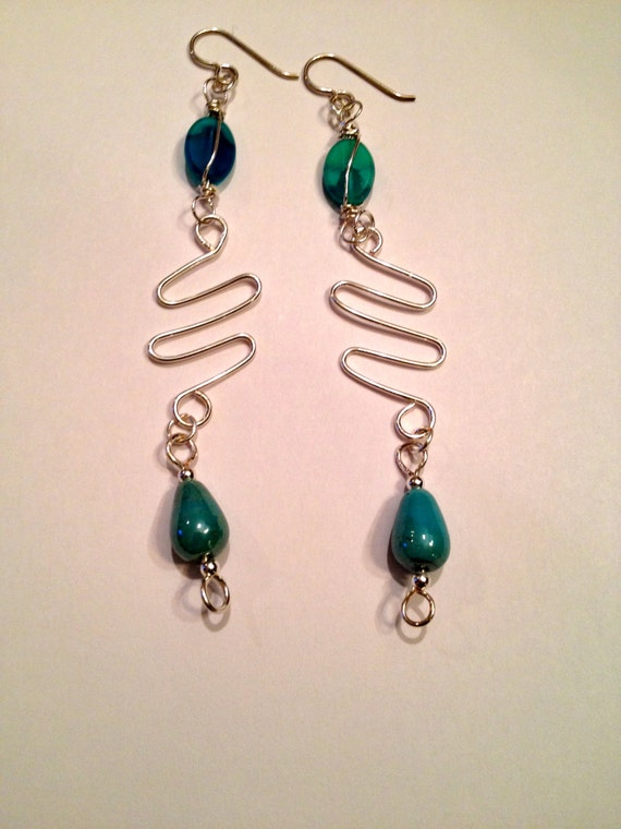 Silver and blue beaded earrings with silver wire work