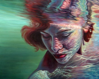 "ART PRINT ""Transcendence"" Underwater Portrait Painting Signed 18x24 or 24x32"