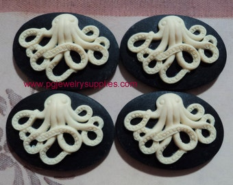 25mm x 18mm oval resin octopus cameos ivory on black 4 pcs lot l