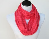 Scarf for mom and teen girl Red chevron infinity scarf zigzag soft cotton jersey knit scarf circle scarf loop scarf Christmas gift idea