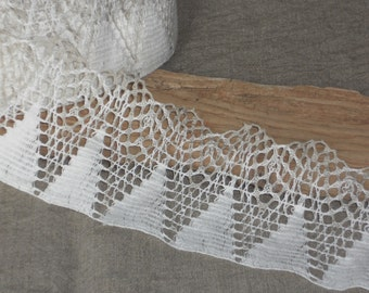 White linen edge trim lace crochet french vintage style triangle lace craft supplies for DIY sewing projects or decor