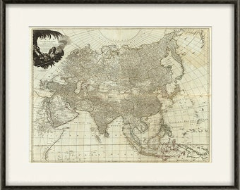 Asia map print map vintage old maps Antique prints poster map wall decor home decor wall  map large map old prints Asia map vintage 12x16