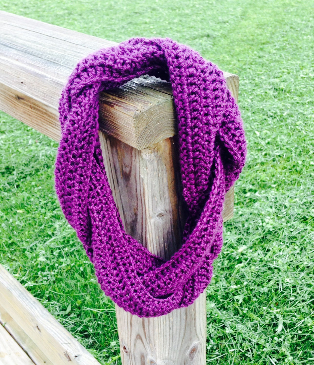 Items similar to Crochet Braided Infinity Scarf on Etsy