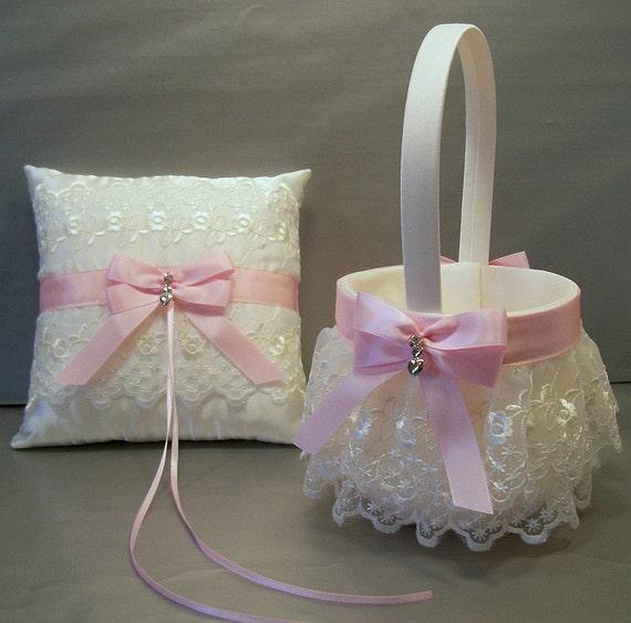 Flower Girl Baskets For Weddings: Light Pink Wedding Bridal Flower Girl Basket & Ring Bearer