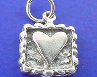 Postage Stamp Heart Charm .925 Sterling Silver