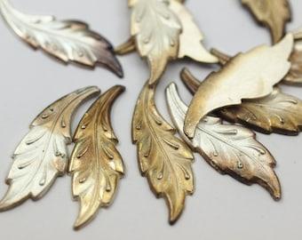 50pcs  Vintage Leaf Cabochon , 31x11 mm Leaf Shape German Cabochon - cb061
