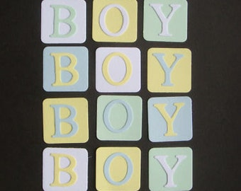 18 Baby Boy Block die cuts for baby cards toppers