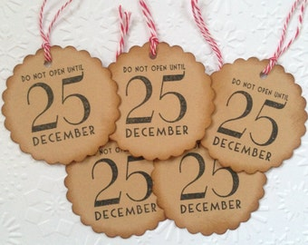 10 Small Scalloped ' Do Not Open until Christmas' Gift tags with Twine for Presents Ready to use