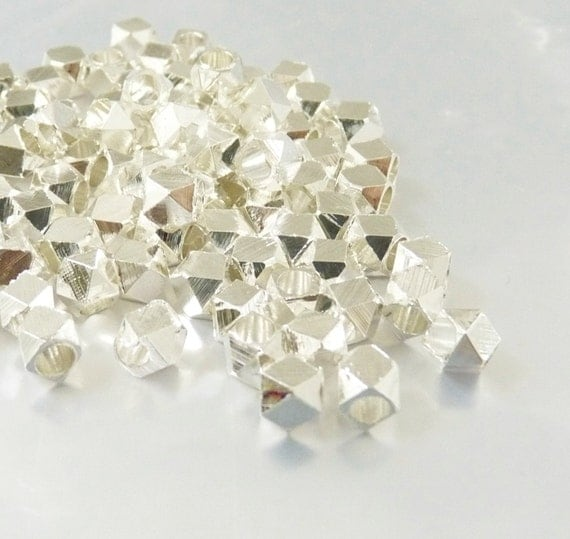 Faceted spacer, 4.5mm, metal spacer beads, shiny silver spacer, big hole spacer  - 25pcs/order