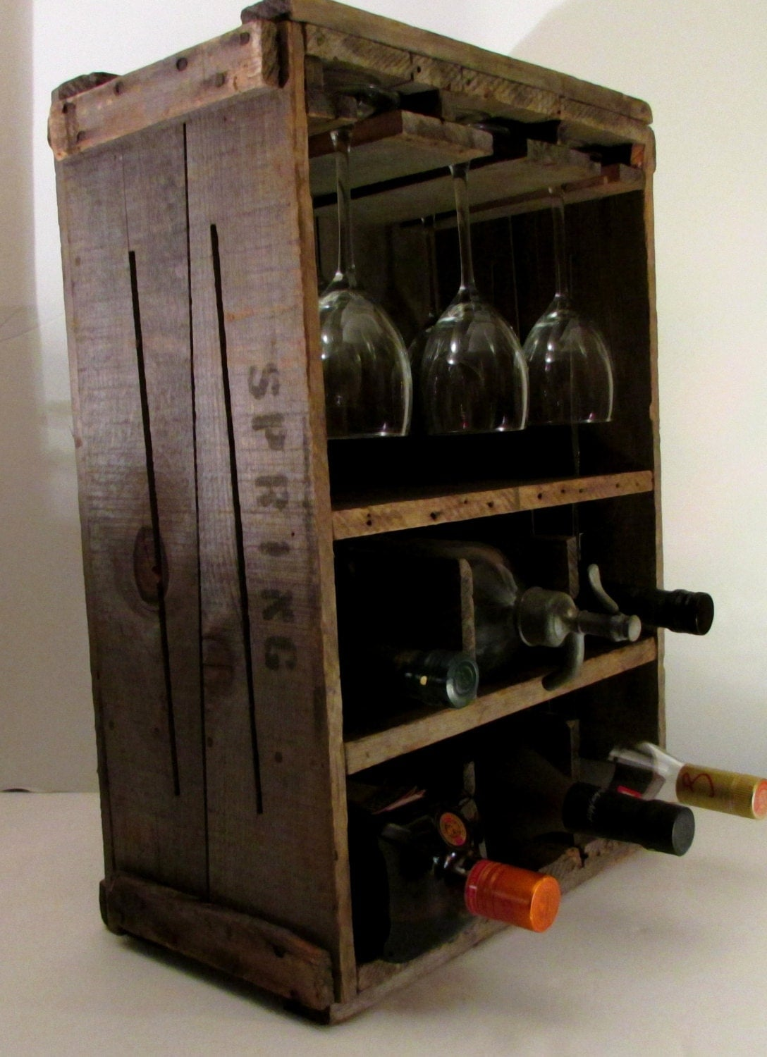 Rustic primitive wine rack wood box vintage new england for Timber wine box