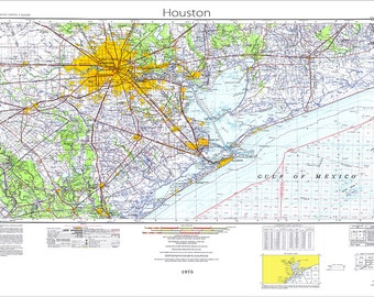 Houston Map, Map of Houston, Texas Map, Houston, Texas Topo Maps, Map of Texas, 1975