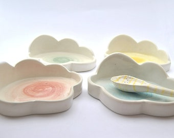 Ceramic Spoon Rest, Spoon Holder Dish, with Cloud Shaped and Decorated with Pigments. Ready To Ship