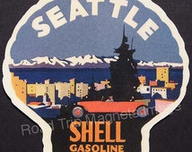 Shell Gasoline 1920s Travel Decal Magnet for SEATTLE. Accurately Reproduced & hand cut in shape as designed. Nice Travel Decal Art