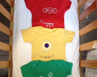Little monster bodysuit set of 4 (onesie), there's a little monster inside, rainbow, newborn to 3 years, baby shower gift, UK seller