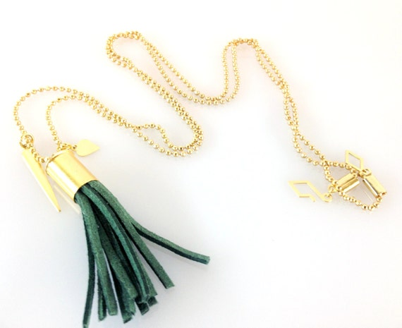 Green long  tassel necklace, long mini green tassel necklace, Green and gold trend tassel jewelry, bib necklace