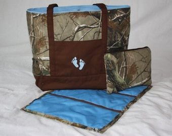 Camo and Blue Diaper Bag Tote Set With Matching Clutch and Changing Pad