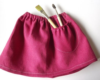Raspberry red linen skirt with puffed pocket. Many colors. 68/9 months-140/9 baby toddler girl,teal,black,white,earth yellow,grey