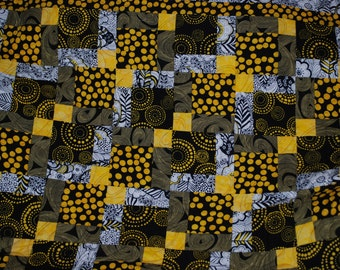 Black, White and Yellow Lap Quilt