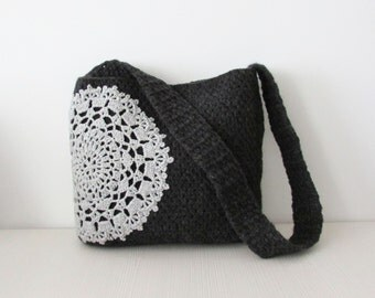 Grey crochet messenger bag  doily  applique