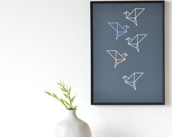 Origami Birds Colour Art Print