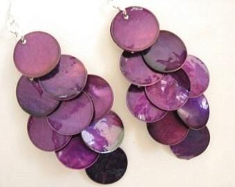 Long Shell Dangle Earrings - Mussel Shell Earrings, Plum Purple Earrings, Big Earrings, Beach Jewelry, Chandelier Earrings, Bohemian Jewelry