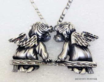 Silver Pewter Diamond Cut Handmade Kissing Angels Necklace
