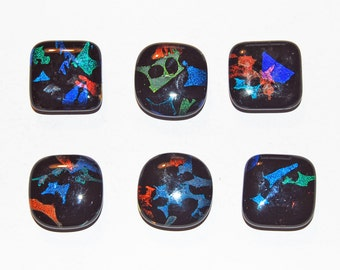 6 Handmade Dichroic Abstract Shapes Fused Glass Magnets