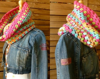 Boho Colorful Crochet Neckwarmer. Cowl. Handmade. Wool & Acrylic. Ethnic Fashion Accessories