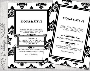 "Wedding invitation template Black & White Damask DIY Classic printable invitations with belly band  -YOU EDIT ""Rococo"" Word /Jpg Download"