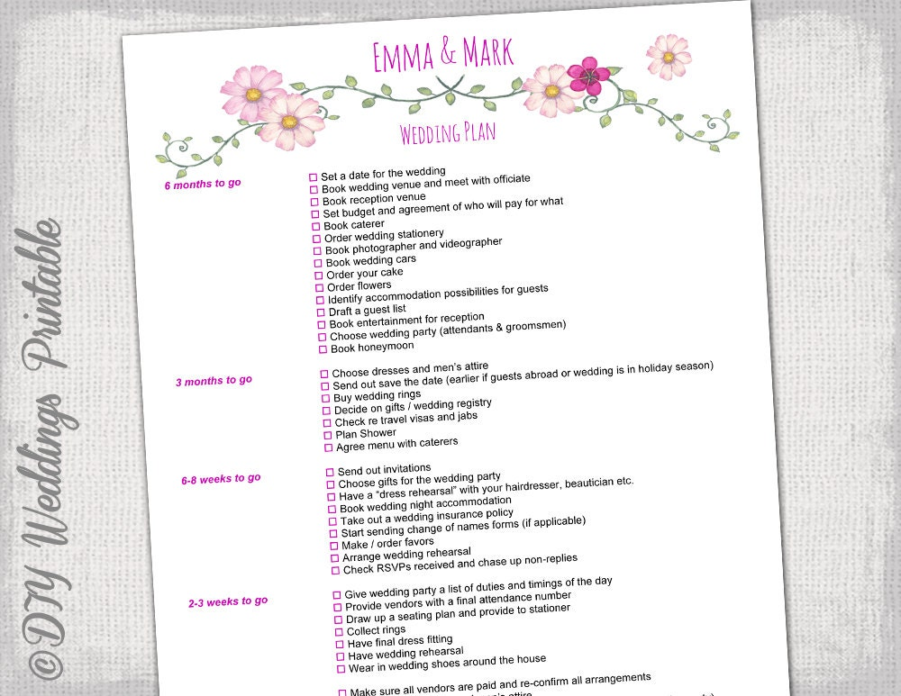Wedding checklist / To do list wedding planner timeline