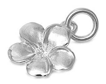 925 Sterling Silver Hawiian Plumeria Flower Charm