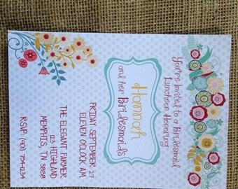 PRINTED or DIGITAL Bridal/Wedding Shower Invitations 5x7 Customized Floral Design 0.82 each
