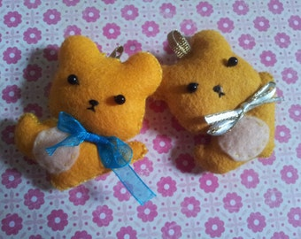 Felty brown bear brothers key chain/phone strap