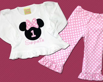 Mouse Head with Bow Girl's Shirt Includes Embroidered Name and Polka Dot Pants