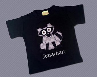 Boy's Racoon Shirt with Embroidered Name