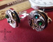 FREE SHIPPING USA**Gift Boxed Mens Steampunk - Steampunk Cufflinks in Green 16mm round vintage Chaika watch movements. mens Cuff Links