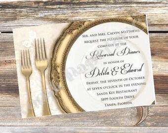 Elegant Reharsal Dinner Invitation, Place Setting, Wedding, Engagement