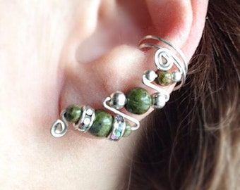 Silver Ear Cuffs with Natural Green Unakite, pair, ear jewelry with no pierced ears needed and no pinching in Sterling Silver