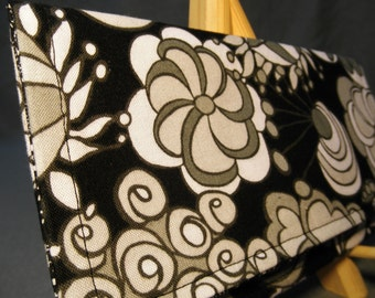 Fabric Wallet - Black, White and Gray Graphic Floral