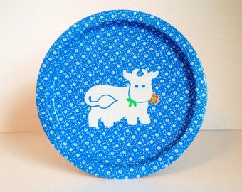 SALE: Vintage Printed Tin Serving Tray - Blue Pattern and White Cow
