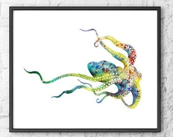 Octopus Watercolor Art Print, Watercolor Painting Octopus Art, See Animal Art, Octopus Art, Home Wall Decor  - 144