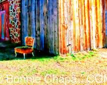 Vintage Velvet Chair Barn Texas Limited Edition Wall Art Giclee Print