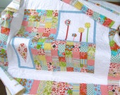 Bright, colourful modern patchwork quilt with appliqué -  suitable for single, twin, double or queen beds, lap quilt, full quilt